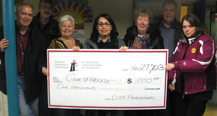 Large cheque donation to Guesthouse from Cliff Pendelbury fund