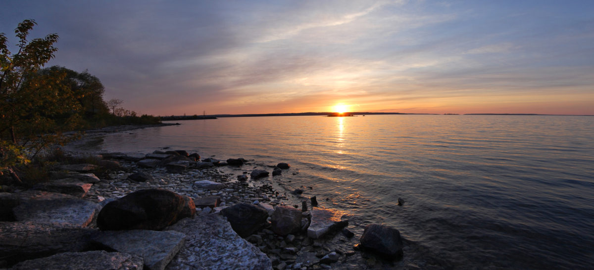Georgian Bay shoreline at sunset