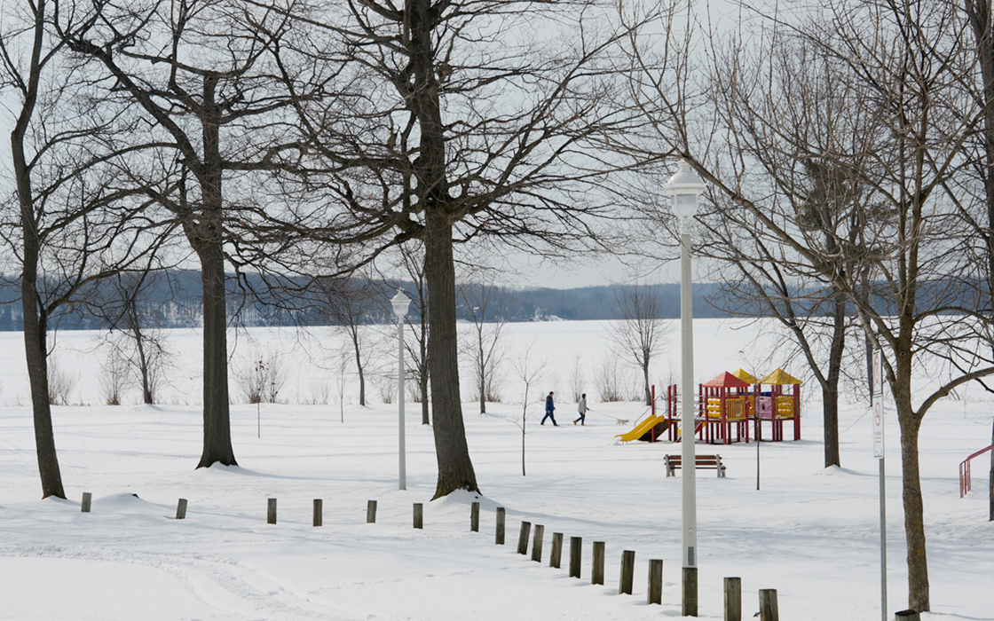 A couple with a dog walkig through the snow beside a lake with a childs playgound in the background