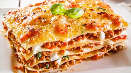 Portion of lasagne